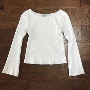 Free People Beach white long bell sleeve top